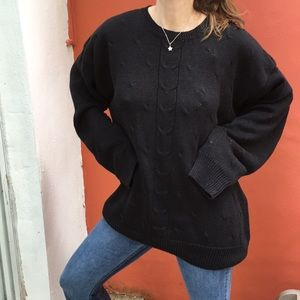 VGT 90s Chunky Black Cable Knit Sweater